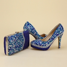 2017 Newest Arrived Unique Designe Shoes With Matching Bag Blue Rhinestone Party Prom Nightclub High Heel