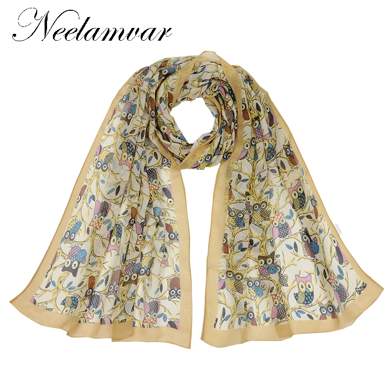 Neelamvar Fashion Soft Thin Chiffon Silk   Scarf   Women Print polyester   Scarf     Wrap   Ladies Shawl Girl Large Pretty   Scarf   2019