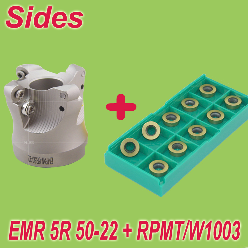 Free Shiping EMR-5R-50-22-4T+10pcs RPMT1003 Round Routing Face Milling Cutter Head Set