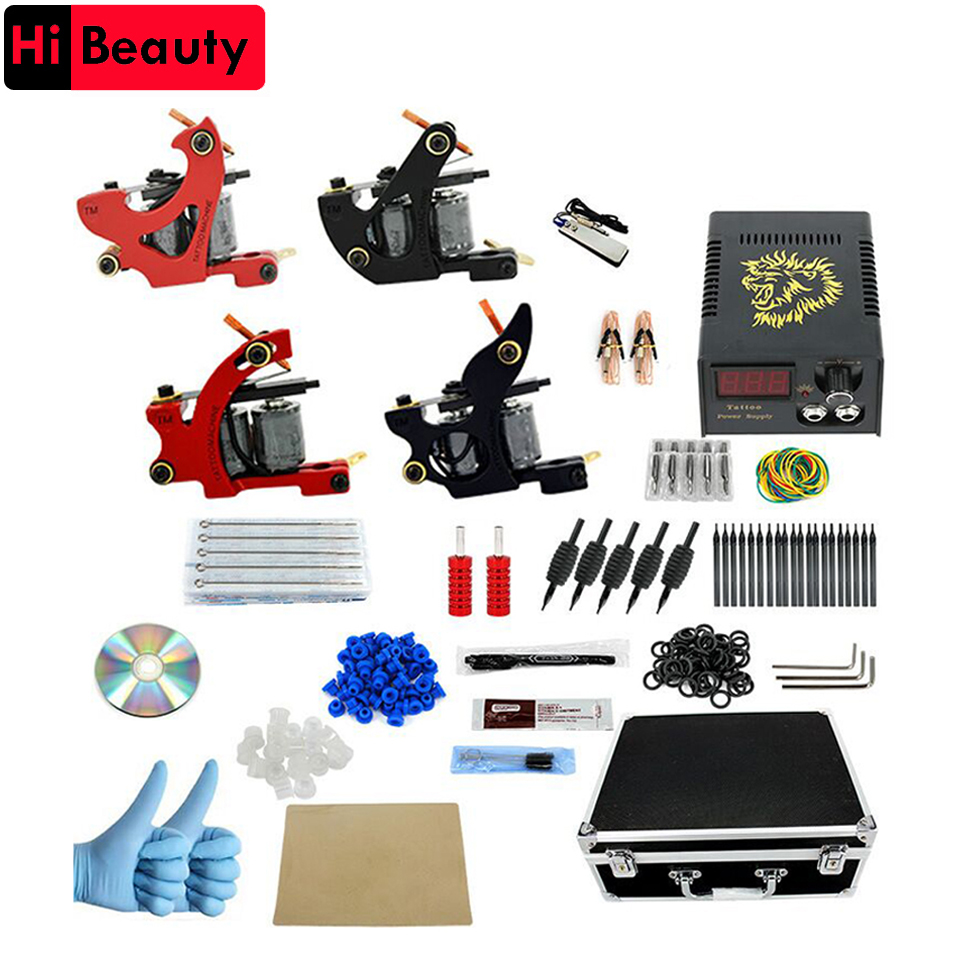 Tattoo Machines Set Complete Kit Power Supply 4 Machine Guns Power Supply Needles Permanent Make Up Professional Tattoo Kit Set ophir 380pcs pro complete tattoo kit 3 tattoo machines guns 40 colors ink pigment tattoo supply power needles nozzles set ta005