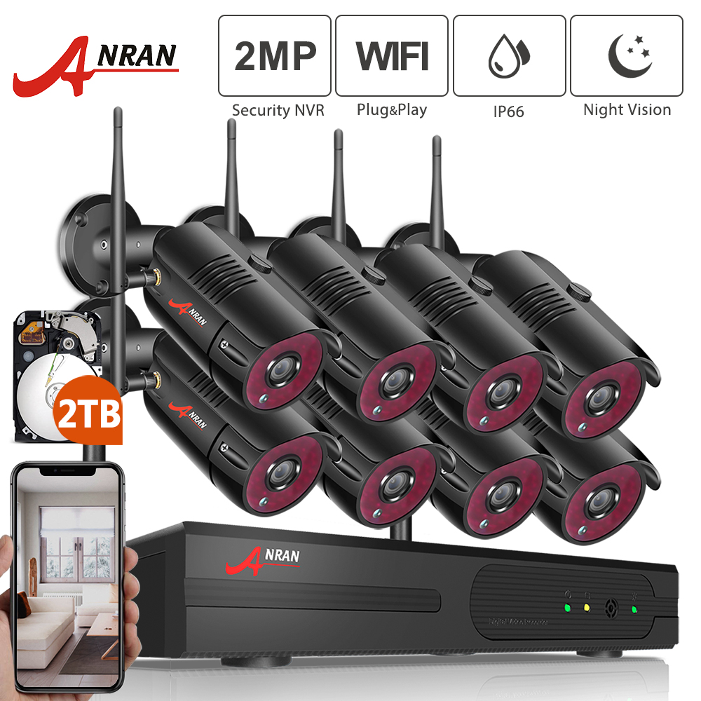 ANRAN 1080P HD IP-camera's Waterdicht Outdoor Nachtzicht Bewakingssysteem 8CH NVR Kits Met 2 TB HDD vooraf geïnstalleerd