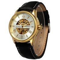 Forsining Top Luxury Brand New Men Watch Mechanical Automatic Watch Fashion Skeleton Vintage Clock Leather Band