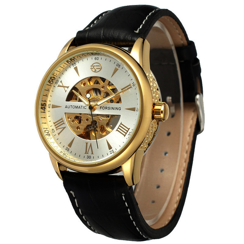 Forsining Top Luxury Brand New Men Watch Mechanical Automatic Watch Fashion Skeleton Vintage Clock Leather Band Relojes Hombres 2016 wilon fashion brand top quality luxury automatic watch male skeleton mechanical watch relojes hombre marca famosa