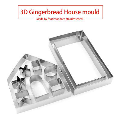 10pcs 3D Gingerbread house Stainless Steel Christmas Scenario Cookie Cutters Set Biscuit Mold Fondant Cutter Baking Tool 2