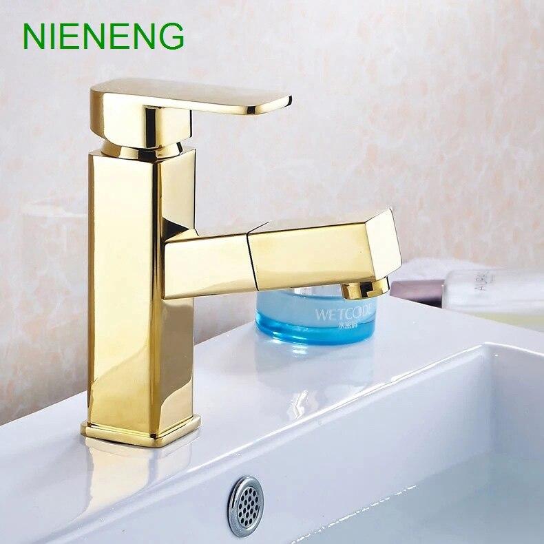 NIENENG bath mixer baralho taps bathroom faucet golden decoration ...