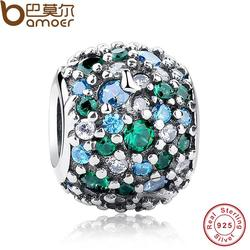 GIFT Charms Fit Original  Bracelet Sterling 925 Silver Ocean Mosaic Pave, Mixed Green CZ & Green Crystal Beads PAS134