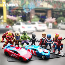 6Pcs Car Ornaments Creativity for The Avengers Lron Man Defensive Interior Dashboard Decoration Toys Accessories