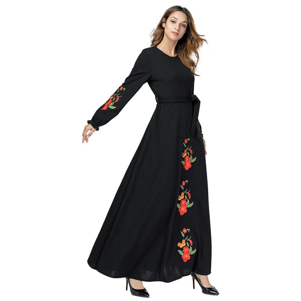 Femmes musulmanes lâche brodé navette dubaï robe caftans Abayas Jilbab arabe robes de soirée havane Maxi robe de soirée 197386