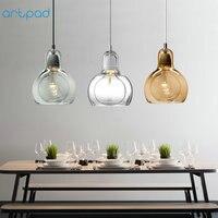 Artpad Modern Hand Blown Glass Pendant Light AC 90V 260V E27 LED Transparent Ball Pendant Lamp for Dining Room Hotel Fixtures