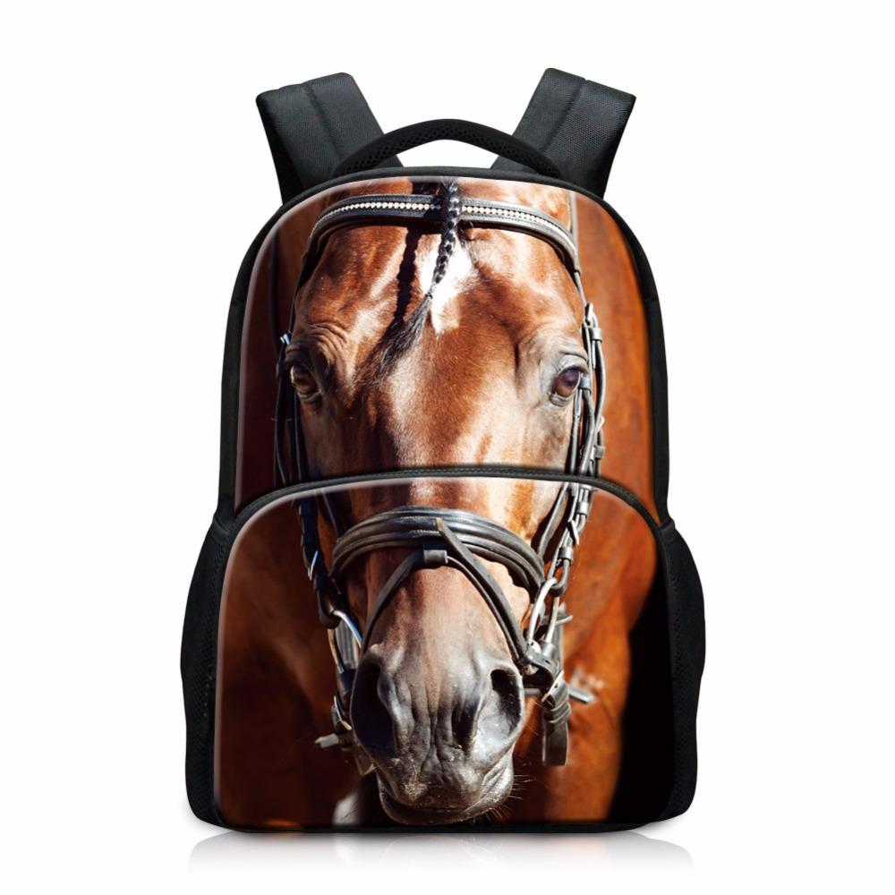 Horse Backpack pattern Wolf Tiger 3D Printed Best School Bookbags for Elementary Students Cute Dog Back Pack for Girls bagpack cute 3d dog pattern silicone back case for iphone 4 4s black white
