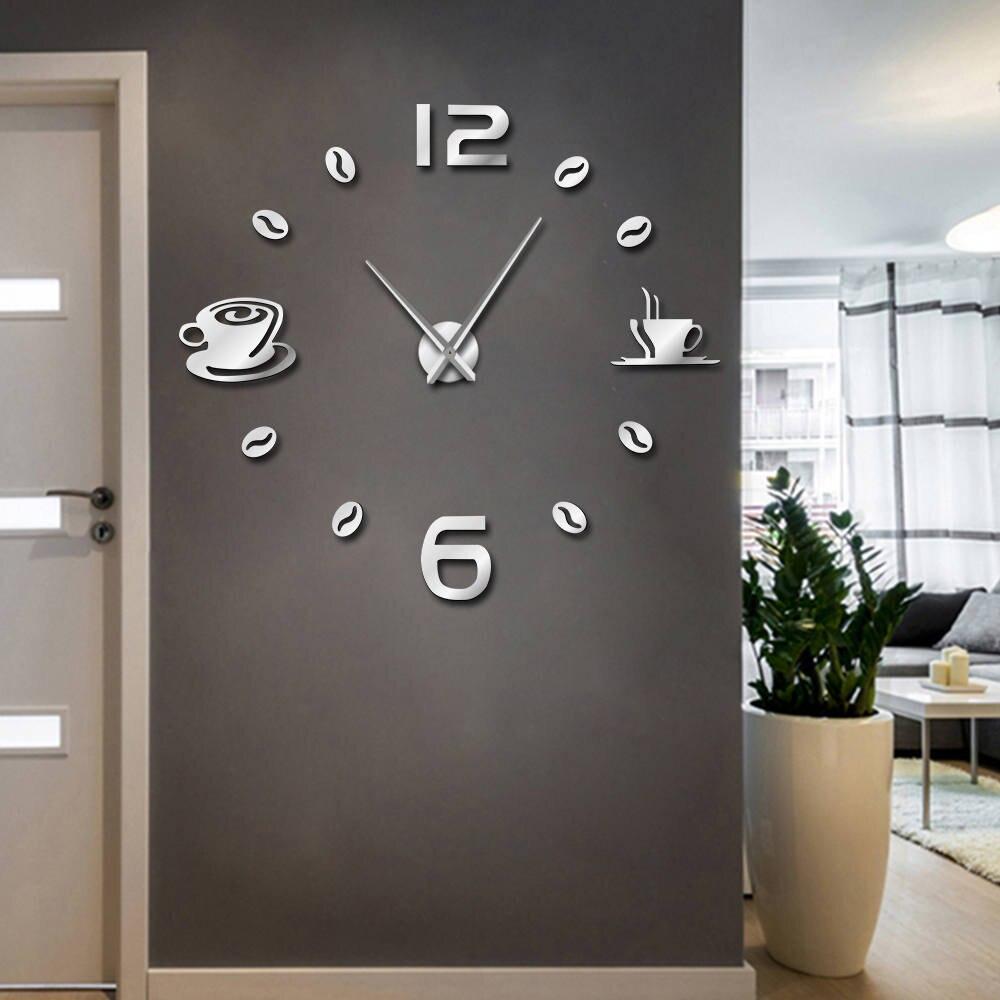 Cafe DIY Große Wanduhr Rahmenlose Riesen Wanduhr Moderne Design Cafe ...