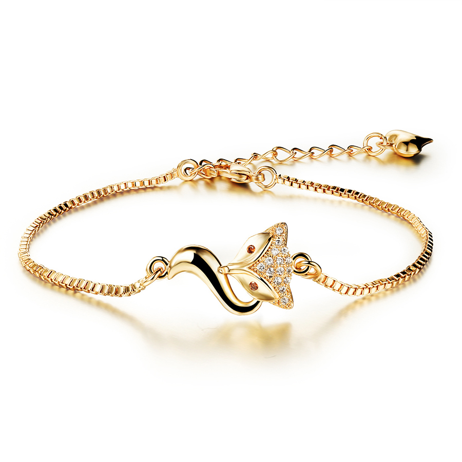 2018 New Gold Color Fox  Rhinestone Crystal Bracelet Inlaid AAA Zircon Plated Bangle Hand Chain Bracelet for Women Jewelry