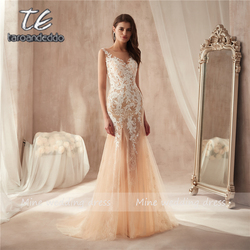 Marvelous Tulle & Lace Bateau Hals See-Through Schede Prom Dress Kant Applicaties Champagne Avondjurk Vestido De Formatura