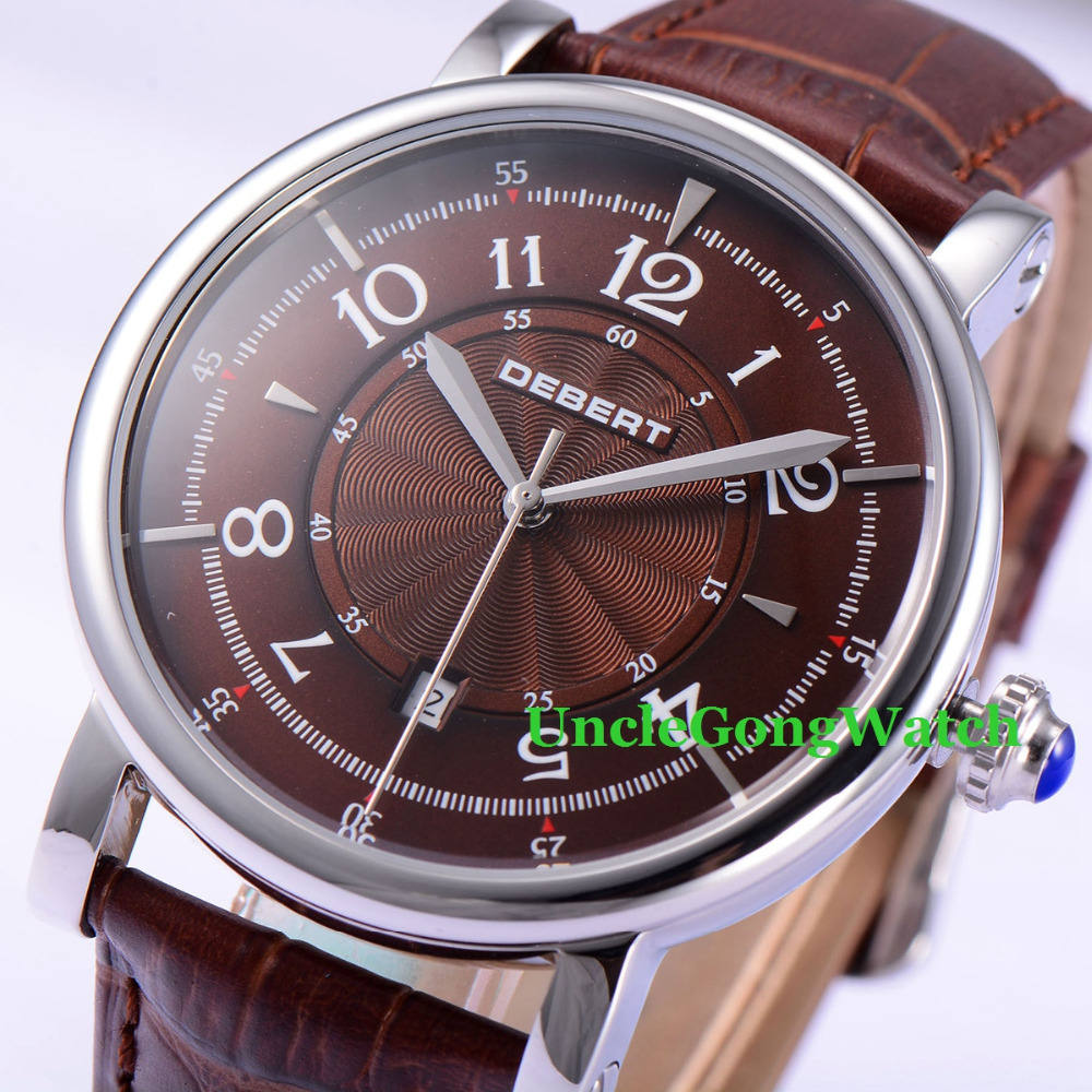 Debert 43mm Coffee Dial 21 Jewels Miyota Leather Strap Automatic Mens Wrist Watch, reloj de pulsera de los hombres стоимость