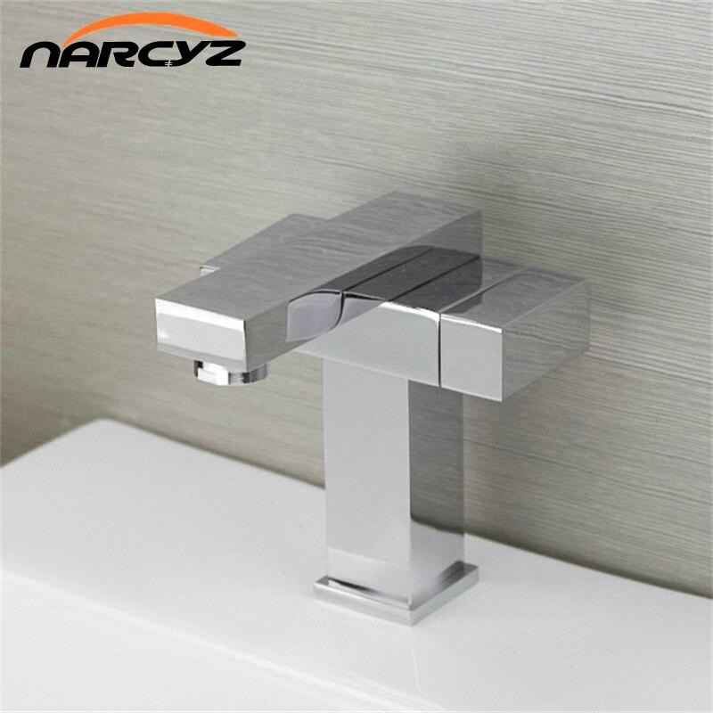 купить Full copper thick type double basin basin faucet hot and cold faucet hot and cold double pipe single hole brass XT501 по цене 3154.27 рублей