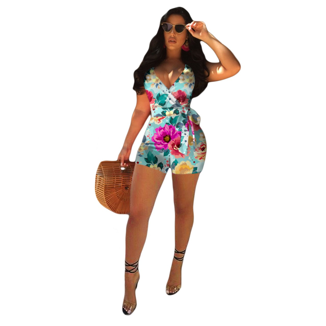 Women Fashion Print Jumpsuit Cross Criss Backless High Waist Rompers Sexy Nightclub Rompers Summer Strap Shorts Bodysuit