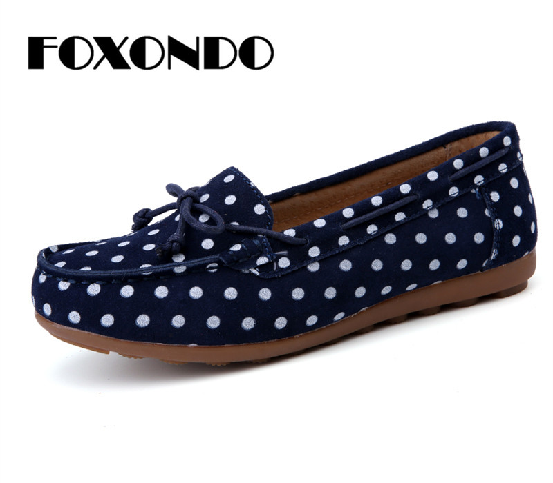FOXONDO 2019 Autumn women ballet basic flats shoes women slip on point style flats female   leather     suede   loafers moccasins shoes