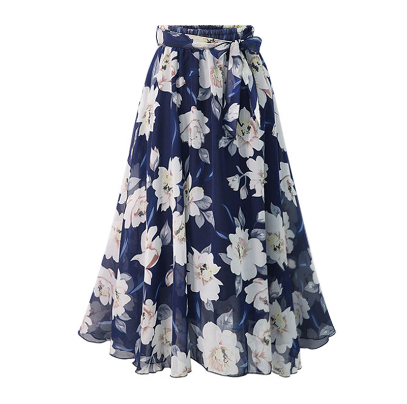 New Plus Size Women Chiffon Skirt Europe Fashion Bow Saia Midi Lining Jupe Femme Lace Up Falda Mujer Summer Print Floral Skirts