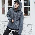 New 2017 autumn / winter england style fashion plaid loose hoodies hip hop casual pullover sweatshirt men moleton masculino WY5