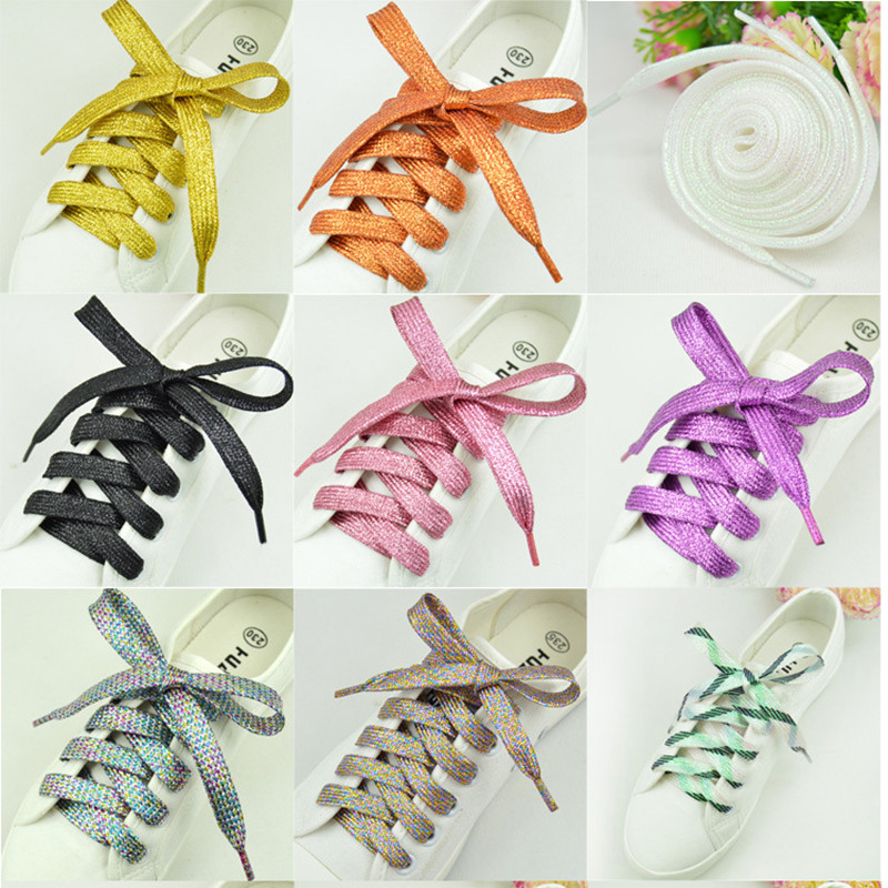 Shiny Gold And Silver Colorful Bright Shoelaces 26 Colors 60-180 Cm Sneaker Sport Shoes Laces Bootlaces Shoe Laces Strings