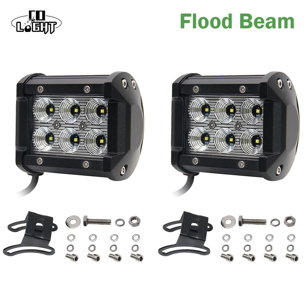 CO LIGHT Led Drl 2pcs 18W Led Chip 4 Spot Flood Led Working Lights 12V 24V