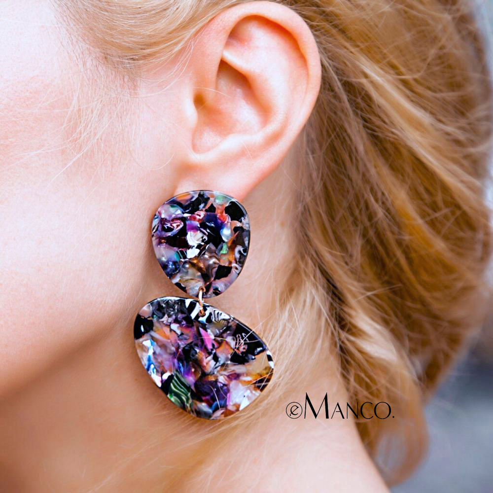 eManco Tortoiseshell Drop Earrings Retro Geometric Hyperbole 3 Items Acetate Jewellery boucles d'oreilles pour les femmes 2018
