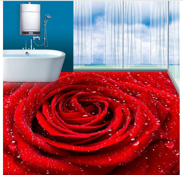 ФОТО 3D wallpaper custom mural beauty Romantic love red roses dew 3 d floor tile pvc wallpaper home decoration