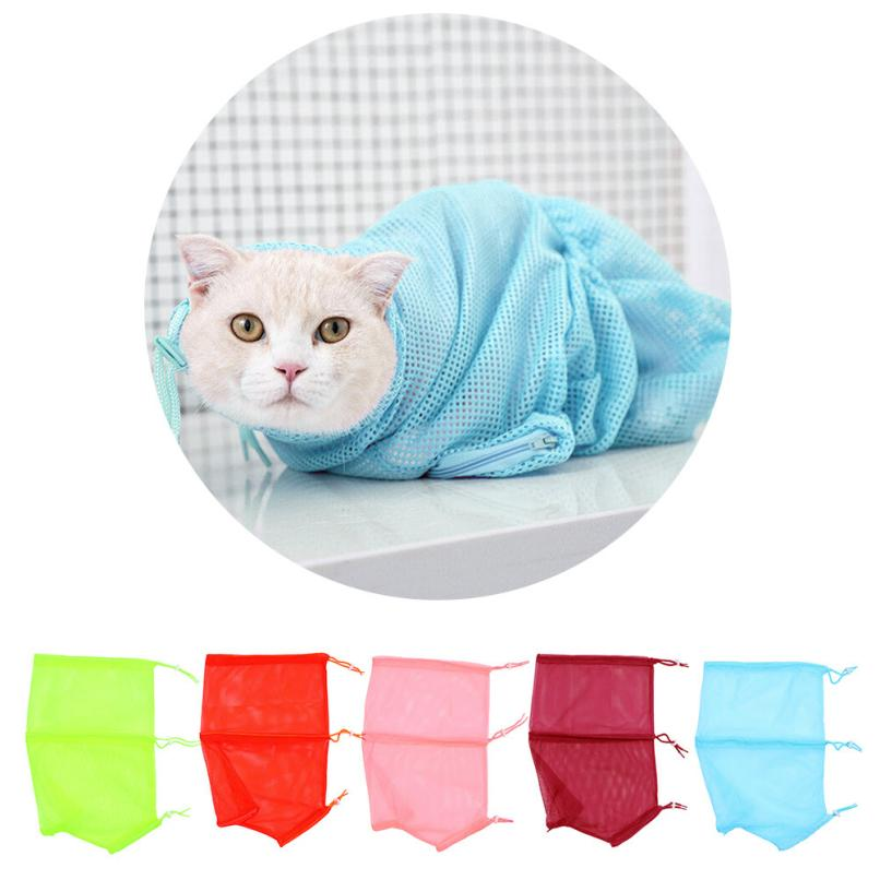 Pet Cat Anti Scratch Cat Grooming Nail Clipping Bathing Restraint Bag No Bite Scratch Fitted Mesh Multi-function Cat Bath Bag