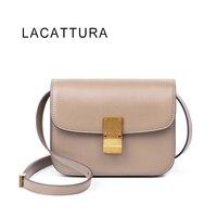 LACATTURA Hot Sale Luxury Brand Design Women Classic Celing Box It Bag Genuine Cowskin Leather Popular