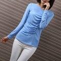 Yichaoyiliang Basar Delgado Top de Seda Simple Con Cuello En V Casual Camiseta Larga Para Las Mujeres de Color Sólido Pullover Tee