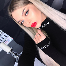 Cotton Turtleneck Letter Print Bodysuits Women Autumn Sexy Long Sleeve Playsuits Black Bodycon Tops Female Solid Style
