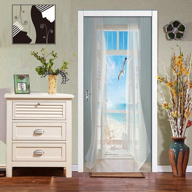 Фото съемные наклейки на двери европейские 3d декорации по морю водонепроницаемые