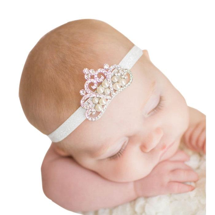 luxury baby girl headband Crown hair band Princess Baby Girl Crystal Pearl Crown Hairband for girl head wear все цены