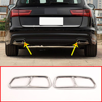 2pcs Stainless Steel Chrome Exhaust Pipe Cover For Audi A6 A7 C7 2016 2018 Accessories
