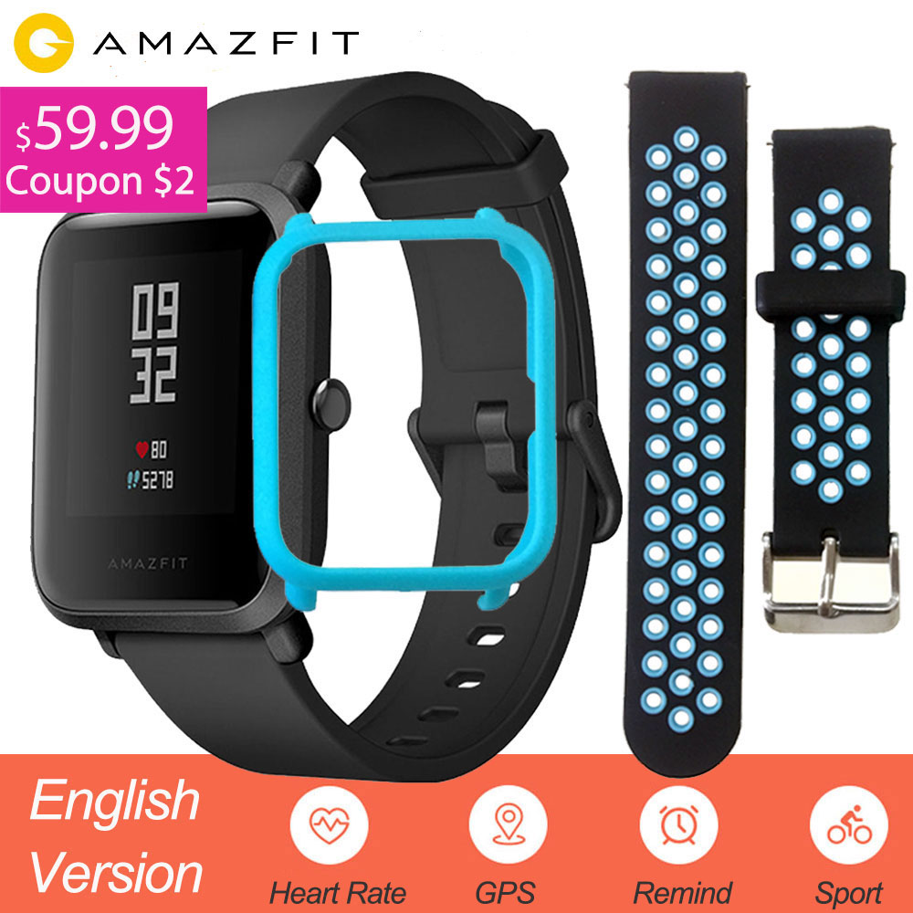 English Version Xiaomi Amazfit Bip Smart Watch Men Huami Mi Pace Smartwatch For IOS Android Heart Rate Monitor 45 Days Battery Рюкзак