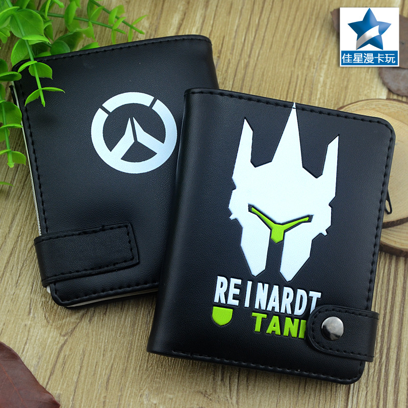 2017 hot game OW Wallets anime PU Cartoon black watch over purse short wallet AB411 anime game super mario synthetic leather short exquisite wallet button purse free shipping