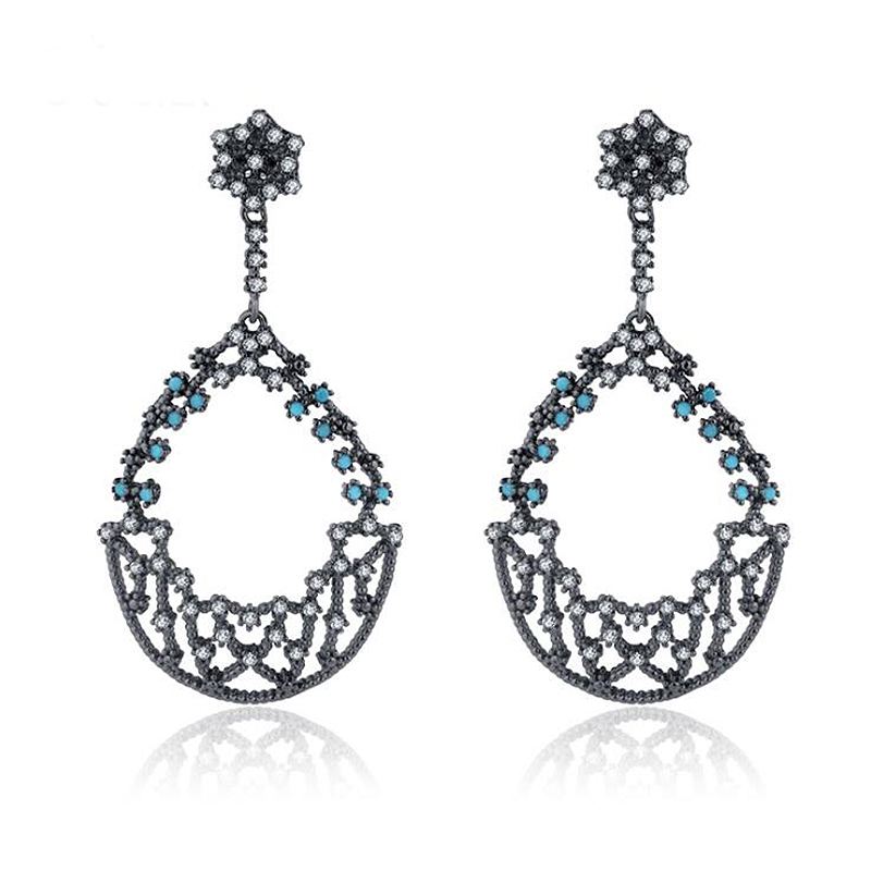 Ruifan Plant Shape Turquoise Drop Earrings for Women Clear Cubic Zircon Black 925 Silver Jewelry Wedding Party Earrings YEA173 pair of stylish faux turquoise crescent shape drop earrings for women
