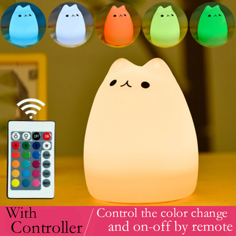 Free Star 7 Color Changed Night Light Cartoon Cat Nightlights For Children With Remote Control 3D Kitty Christmas Xmas Lamp Gift