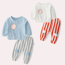 все цены на UnisexToddler Boys Clothes Girls Outfits Kids O-Neck Clothes Sets Spring and Autumn 2color cartoon balloon cotton baby two-piece онлайн