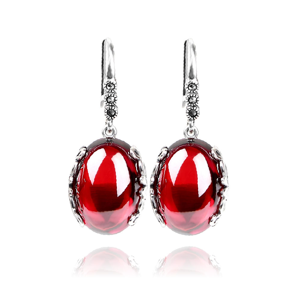 EDI 925 Sterling Silver Yellow Chalcedony Red Garnet With Dangle Earring Vintage Pendien ...