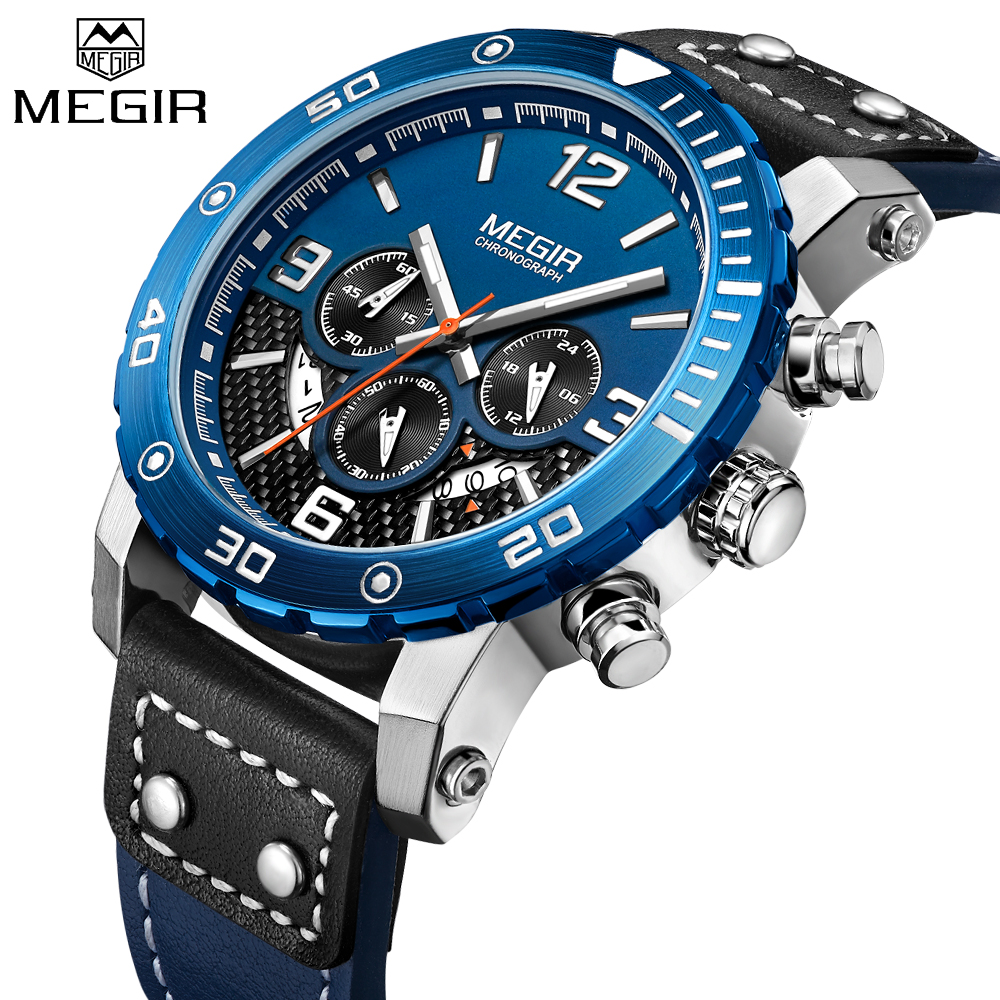 MEGIR 2018 New Sport Men Watch Brand Luxury Fashion Military Quartz Watches Waterproof Calendar Chronograph Relogio Masculino цены онлайн