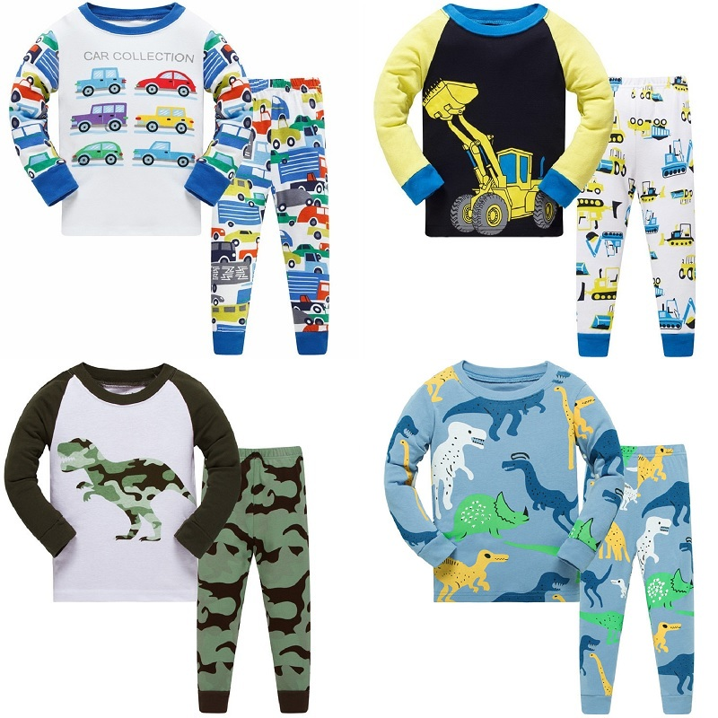 Kids Long Sleeve Pajamas Sets New 2020 Spring Autumn Boys Dinosaurs Sleepwear Animal 3 4 <font><b>5</b></font> <font><b>6</b></font> 7 8 Years Pjs Clothes image