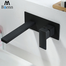 Basin Faucets Black Bathroom Wall Mounted Bathroom Sink Faucet Mixer Tap Brass Single Handle Square Shape Taps