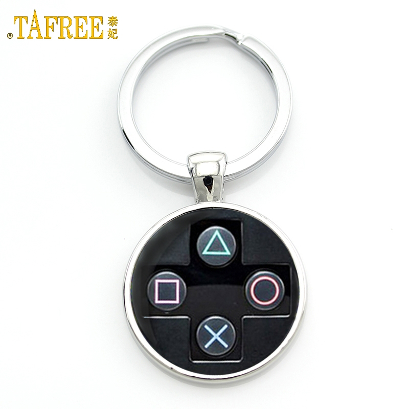 TAFREE Brand Video Game Controller Photo Keychain Geeky Boyfriend Gift Jewelry Glass Cabochon Dome Key Chain Ring брелок KC184