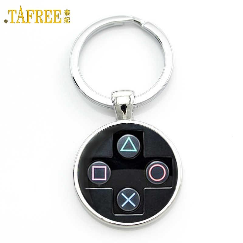TAFREE marca Video juego controlador foto llavero geeky novio regalo joyería cristal cabujón Domo llavero anillo брелок KC184