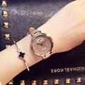 Moda Estrellado Arenas de Negocios Temperamento Sencillo Cinturón Diamante Tabla Reloj de Cuarzo relogio feminino montre femme Reloj Mujer Regalos