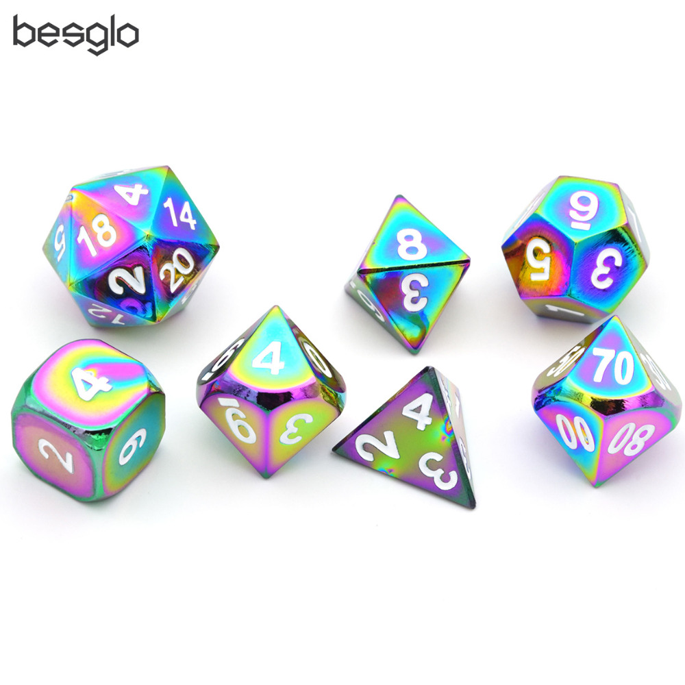 Rainbow Metal Dice Set 7-Die Metal Polyhedral Dice Set For Dungeons & Dragons Role Playing Game Pathfinder RPG And Math Teaching