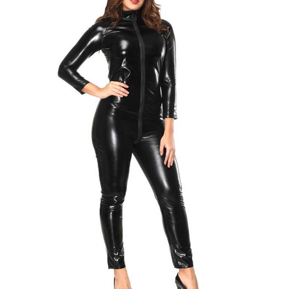 Взрослый женский черный комбинезон для ночного клуба комбинезон сексуальный длинный рукав комбинезоны для девочек спереди молния праздничный комбинезон