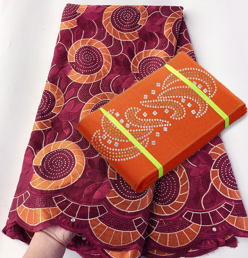 Połączenie 5 metrów miękkie bawełniane koronki afrykański szwajcarski woal koronki tkaniny dopasowanie klasyczne Aso Oke headtie gele szalik sprzedawane razem w Koronka od Dom i ogród na  Grupa 1