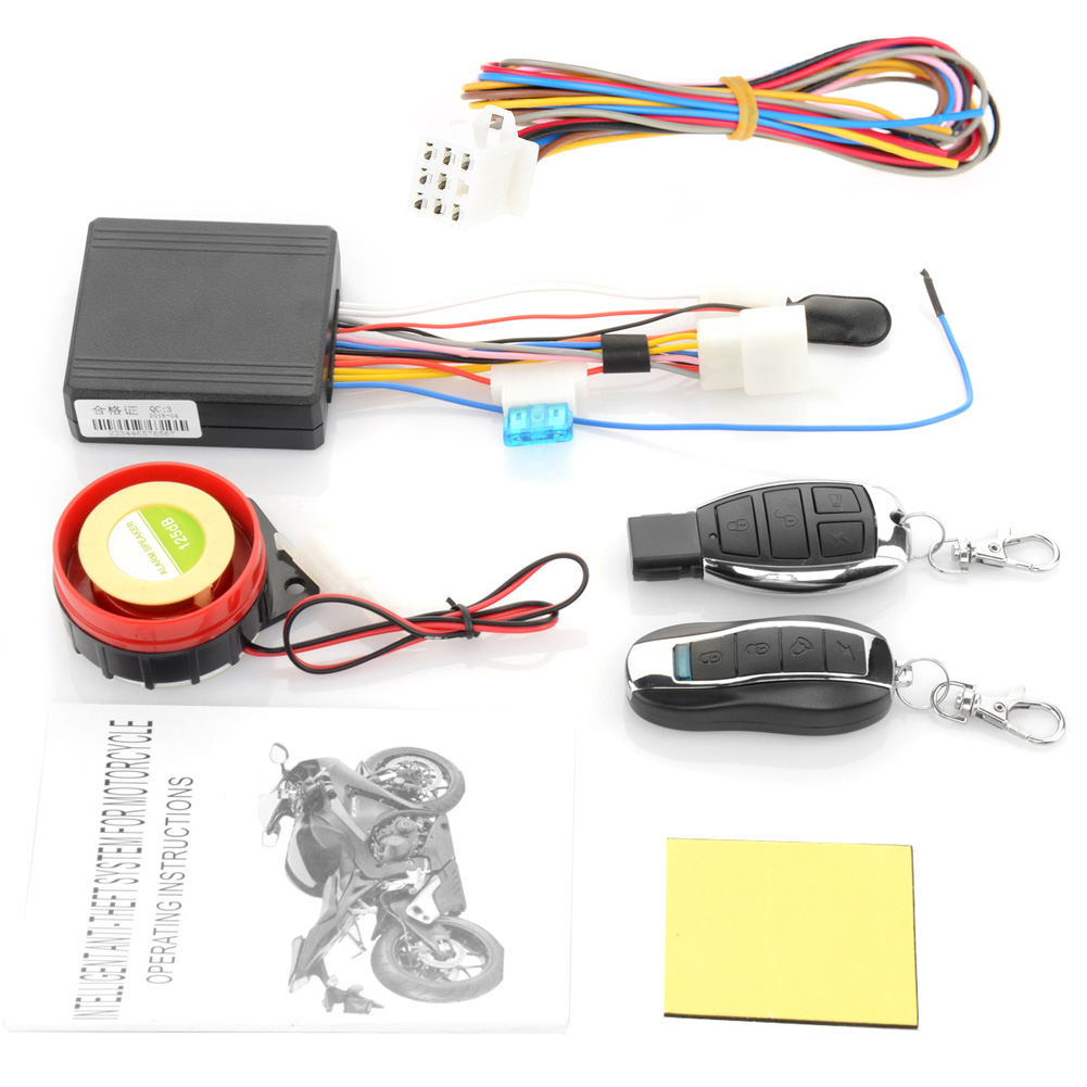 12V Motorcycle Moto Bike Anti-theft Horn Scooter Security Alarm System Remote Control Engine Start Keyless Entry Anti-line Cut